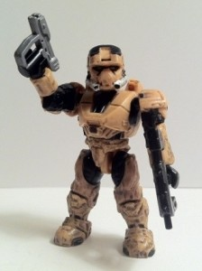 Tan Spartan EOD Figure with Magnum and SMG from Halo Mega Bloks UNSC Armory 96951 2012