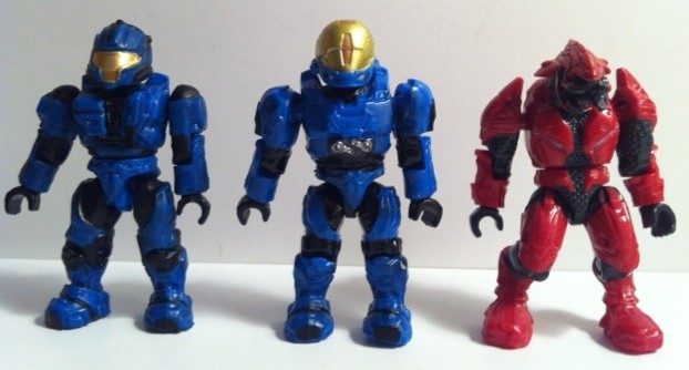Red Elite Combat Blue EVA and CQB Spartan Figures Front from Halo Mega Bloks Versus: Covenant Locust Attack 96965