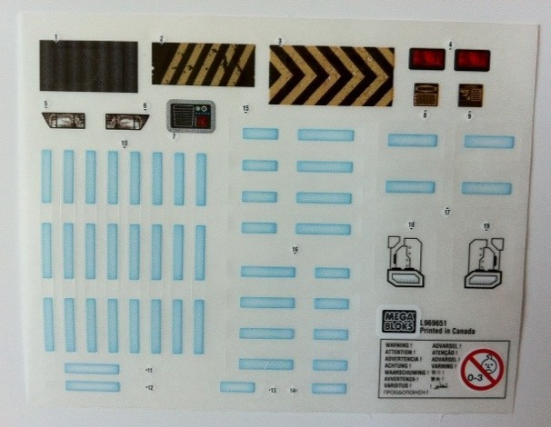 Decals Stickers Sheet from Halo Mega Bloks Versus: Covenant Locust Attack 96965 Set
