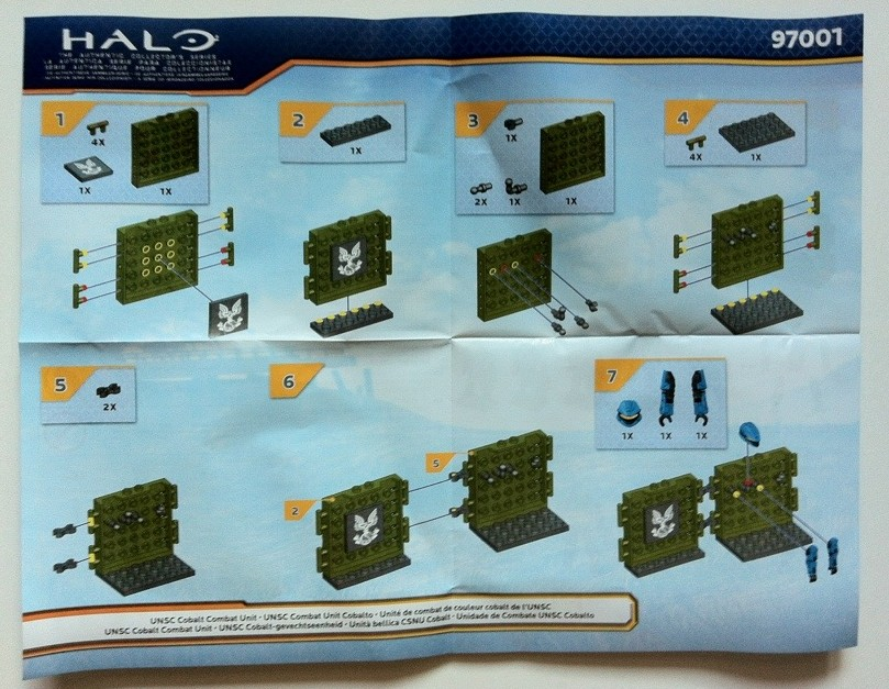 Instructions Halo Mega Bloks UNSC Cobalt Combat Unit 97001 2012