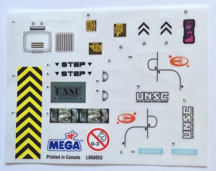 Halo Mega Bloks 97003 Sticker Sheet for Snowbound Rockethog