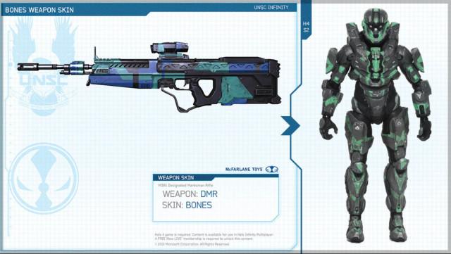 Halo 4 Series 2 Green Steel Spartan CIO with DMR Bones Skin DLC Codes