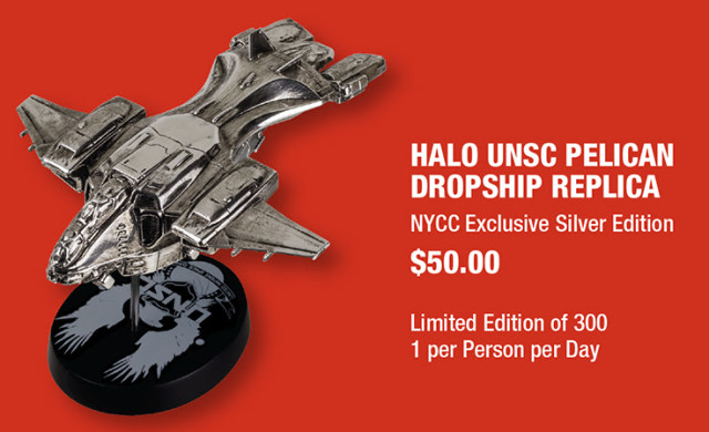 NYCC 2015 Exclusive Halo Silver UNSC Pelican Dropship Replica