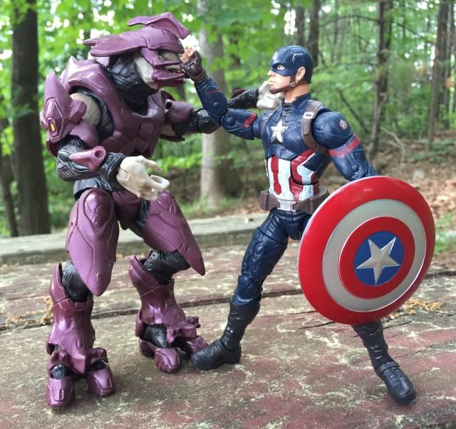 Mattel Halo 6 Inch Elite Figure vs. Marvel Legends Captain America Size Comparison