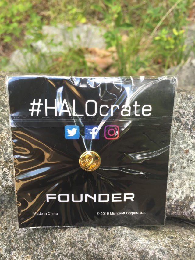 HALOCrate Founder Pin Packaged Back